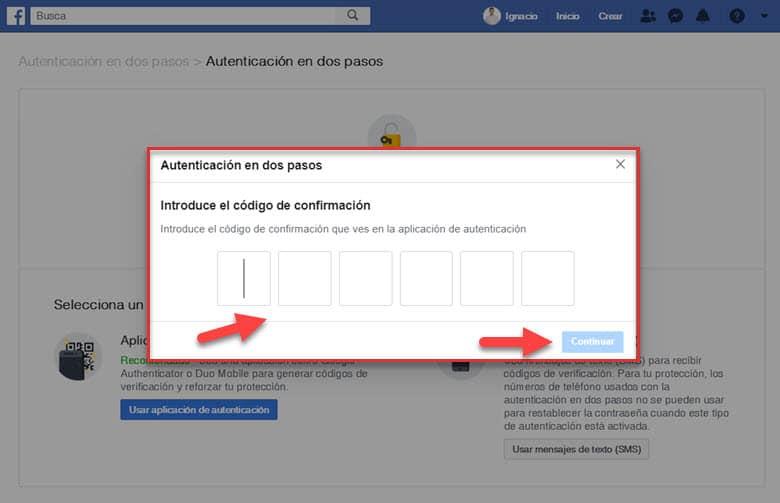 como añadir configurar autenticacion en dos pasos cuenta facebook aplicacion seguridad redes sociales