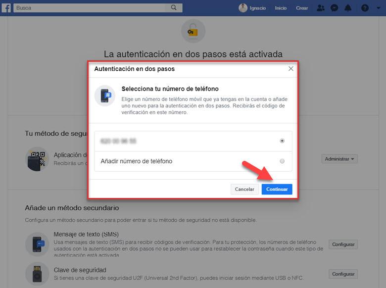 como añadir configurar autenticacion en dos pasos cuenta facebook mensaje de texto sms seguridad redes sociales