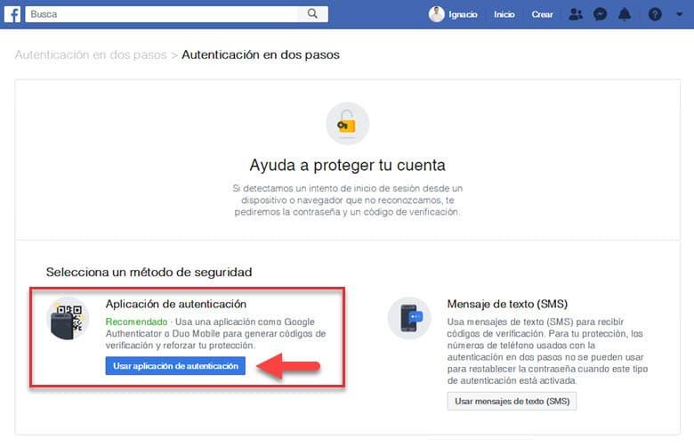 como añadir configurar autenticacion en dos pasos cuenta facebook seguridad redes sociales