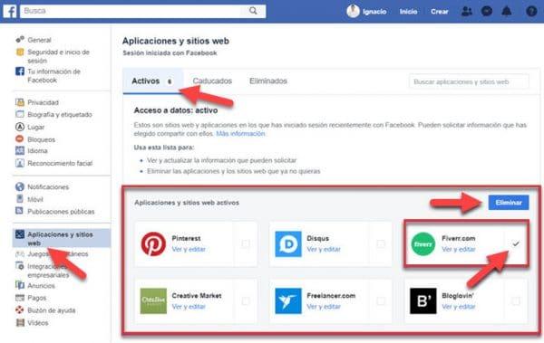 como eliminar revocar accesos datos facebook aplicaciones sitios web informacion seguridad
