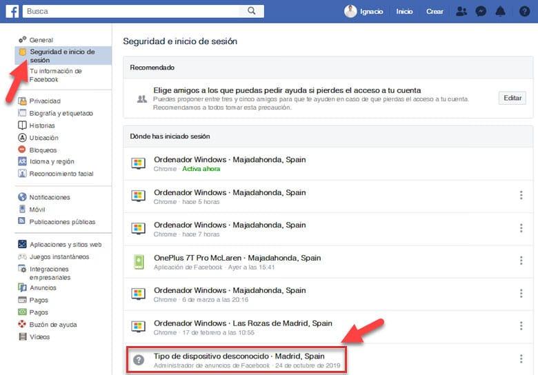 como saber quien ha intentado acceder a cuenta facebook donde has iniciado sesion informacion seguridad